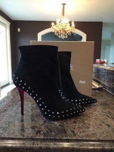 NIB Christian Louboutin Black Suede Willetta Spike Heel Bootie Boot $1595 Sz 42 #ChristianLouboutin #FashionAnkle