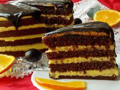Pomarańczowo-czekoladowy torcik na białkach