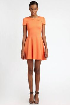 "Halston Heritage Short Sleeve Dress with Cross Neck Detail, $375;  target=""new"">saks.com Courtesy of Saks  - ELLE.com"