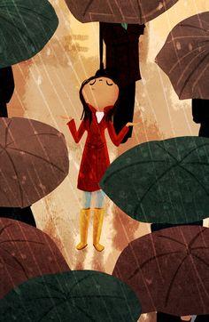 Paraplu Print regenachtige schilderij regen Art Stad in door nidhi