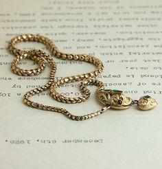 Victorian Emerald and Garnet Snake Necklace, $2,800.00