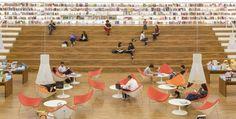 The amazing book shop Livraria Cultura in Sao Paolo, Brazil, with dozens of Magnum 4202 pendants by Secto Design! Designed by Iguatemi SP/Studio MK27 – Marcio Kogan© Fernando Guerra, FG+SG Architectural Photography.