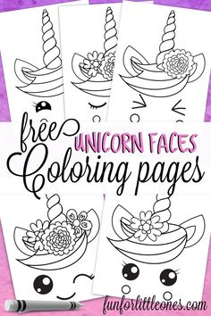 Unicorn Faces Coloring Pages Free Printable - Fun for Little Ones Unicorns are so much fun! This free printable includes 5 different unicorn faces coloring pages with a variety of facial expressions. Coloring Pages For Grown Ups, Coloring For Kids, Adult Coloring, Free Printable Coloring Pages, Free Coloring Pages, Coloring Sheets, Activity Pages For Kids Free Printables, Coloring Books, Unicorn Themed Birthday Party