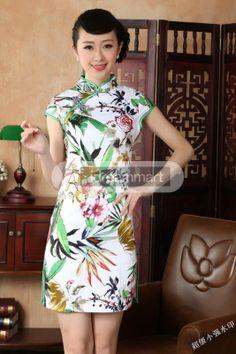 Women's Floral Cotton Bamboo & Flowers Print Short Sleeve Mini Chinese Dress - iDreamMart.com