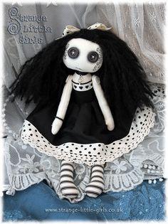 Strange Little Girls  OOAK Gothic Lolita Cloth Art Doll With Button Eyes by StrangeLittleGirlsUK, £55.00