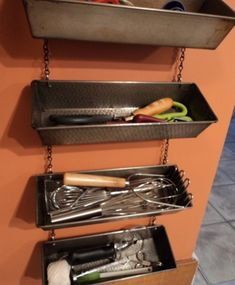 Bread loaf pans converted to tool storage baking pans, room organization, shed storage, gardening tools, loaf pan, storage design, old tins, storage ideas, kitchen stuff