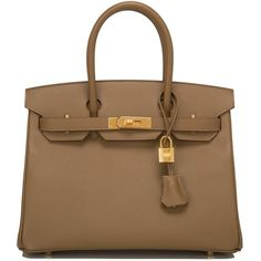 Hermes Alezan Epsom Birkin 30cm Gold Hardware (336,910 MXN) ❤ liked on Polyvore featuring bags, handbags, real leather handbags, brown leather handbags, brown handbags, brown leather purse and brown purse