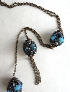Necklace of blue crystal balls by asteriascollection on Etsy, $17.00