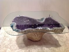 Rare Vintage Amethyst Geode Table Gilded Gold with Custom Cut to Form Glass image 4 Crystals In The Home, Stones And Crystals, Crystal Furniture, Resin Furniture, Table Furniture, Furniture Ideas, Design Tisch, Modern Dining Room Tables, Modern Table