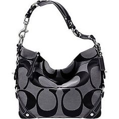 Coach Signature Carly Sac Shoulder Hobo Handbag Bag Purse Tote 18792 Black White