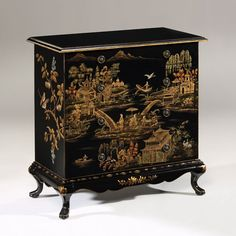 Hand-painted rectangular chest with Chinoiserie design on an antiqued crackled background. Hand painted chest has five drawers and antiqued brass hardware Asian Furniture, Oriental Furniture, Classic Furniture, Luxury Furniture, Cool Furniture, Furniture Stores, Furniture Makeover, Furniture Depot, Chinese Furniture