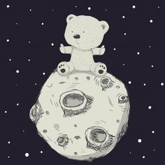Cute teddy bear on the moon cartoon drawing premium vector Moon Cartoon, Bear Cartoon, Cartoon Drawings, Cute Drawings, Teddy Drawing, Banners, Baby Shirt Design, Space Drawings, Baby Tattoos
