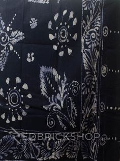 BATIK ABSTRACT NAVY COTTON SAREE Rs 2093