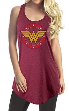 DC Comics Wonder Woman Logo Flowy Cover Up (Large, Heather Blue): Flowy Tank Style, Racerback Spandex Front Print Only, Logo Design Is Distressed Junior Fit Wonder Woman Logo, Vintage Tees, Dc Comics, Fashion Brands, Cover Up, Casual, How To Wear, Logo Design, Spandex