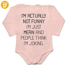 I'm Actually Not Funny, I'm Just Mean And People Think I'm Joking Baby Long Sleeve Romper Bodysuit Large - Baby bodys baby einteiler baby stampler (*Partner-Link)