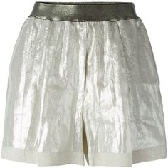 Nude High Waist Shorts (£115) ❤ liked on Polyvore featuring shorts, metallic, metallic high waisted shorts, highwaist shorts, linen shorts, high-waisted shorts and highwaisted shorts