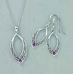 Marquis Knot Amethyst Jewelry Strands of silver twine in eternal knots, forming a graceful oval. Reaching together like a clasp of hands, they embrace a drop of amethyst. Just the pendant $45