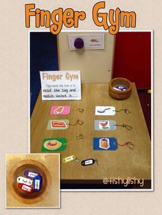 Finger gym table- read the tag and unlock the padlock.
