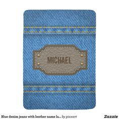 Blue denim jeans with leather name label baby