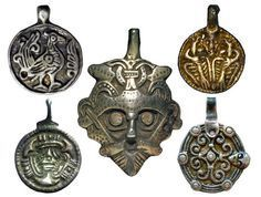 Early medieval Scandinavian pendants charms. The Vikings, X century.