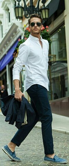 Spring / Summer - casual style - street style - beach style - navy pants + white button down neck shirt + blue woolen slip on shoes + black sports blazer + aviators