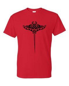 Tribal Stingray Ocean Animals T-Shirt Red 3XL, Men's, Size: XXXL
