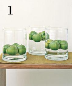 floating fruit in vase centerpiece