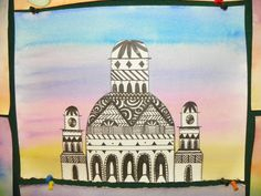 8th Grade Fantastic Castle.  Mixed Media, pen and ink cut out and then glued on a varigated watercolor wash