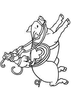 Ce singe et ce cochon sont en pleine représentation d'un numéro de cirque, dessin à colorier