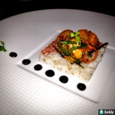 """Beef Tartare with Fried Oysters, Kimchi, Steamed Rice, & Black Bean """"Paste"""" from Congress Restaurant in Austin"""