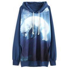 Blue Hooded Polar Bear Print Long Sleeve Sweatshirt (130 CNY) ❤ liked on Polyvore featuring tops, hoodies, sweatshirts, blue hooded sweatshirt, bears hoodies, blue hoodie, bear sweatshirt and blue top