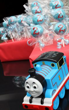 Mel's Sweet Treats: Thomas the Train Cake Pops @Taylor Gray, made need your mommy to make us some cake pops! He already has a toy that looks just like that!