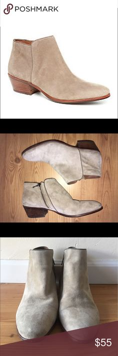 """Sam Edelman Petty Suede Ankle Boots Sam Edelman Petty Boot in """"putty suede."""" Color is a taupe. Women's Size 11. Preowned with signs of use but still in good wearable condition! Zipper inside. Block heel. Suede leather. Sam Edelman Shoes Ankle Boots & Booties"""