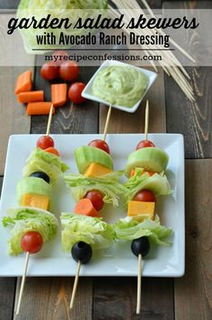 Garden Salad Skewers with Avocado Ranch Dressing-Nobody can resist these yummy salad skewers! Everybody loves food on a stick! These skewers make great appetizers, finger food, or a grab and go side dish. My pickiest eater loves these. The Avocado Ranch Dressing Puts this recipe over the top with its creamy goodness! Trust me, you don't want to miss out on this one! It's a great way to eat healthy on the go.
