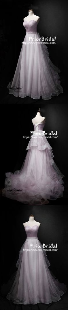 Charming Lilac Tulle Simple Sweetheart Strapless Lace Up Back Ruffles Prom Dresses,PB1059