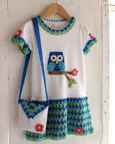 Maggie's Crochet · Owl T-Shirt Dress, Hat and Purse Crochet Pattern Crochet Girls, Crochet Baby Clothes, Crochet For Kids, Knit Baby Dress, Crochet Dresses, Thread Crochet, Crochet Hooks, Knit Crochet, Crochet Shirt