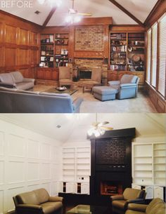 I think I would have left the paneled walls alone but a big dif W fireplace and built ins Before After Home, Mission House, Paneled Walls, Living Room Lounge, Elegant Homes, Built Ins, Home Decor Inspiration, Home Renovation, Decoration