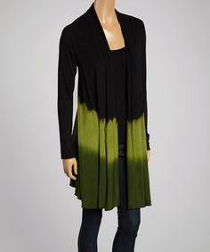 Look what I found on #zulily! Green & Black Dip-Dye Open Cardigan by Kathmandu Imports #zulilyfinds