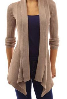 Stylish Shawl Collar Long Sleeve Slimming Pure Color Cardigan For Women