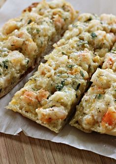 garlic bread, sign us up! This Shrimp Ciabatta is the perfect appetizer for dinner.Savory garlic bread, sign us up! This Shrimp Ciabatta is the perfect appetizer for dinner. Finger Food Appetizers, Yummy Appetizers, Appetizers For Party, Finger Foods, Appetizer Recipes, Shrimp Appetizers, Christmas Appetizers, Fish Recipes, Seafood Recipes