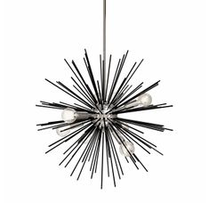 Lighting - Add a modern touch to your decor with this Dainolite 8 Light Wide Sputnik Chandelier made of black steel with polished chrome accents. Sputnik Chandelier, Pendant Lighting, Pc For Sale, Art Deco Paintings, Thing 1, Black Polish, Glass Globe, Light Table, Polished Nickel