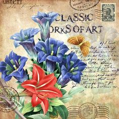 Vintage Imagenes Paper Printing Ideas Useful Decoupage Vintage, Vintage Cards, Vintage Paper, Vintage Postcards, Flower Images, Flower Art, Pocket Letter, Vintage Rosen, Mail Art