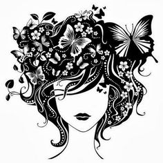 Girl with butterflies in hair