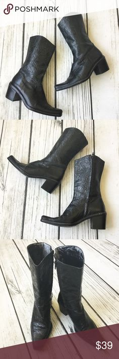 "Gianni Bini black embossed leather Western boots 5. Very good used condition Black embossed leather mid calf Western style boots. Minor flaws from wear including wear inside boots. See pics. Brand: Gianni Bini Size 7 with 2"" Heel Gianni Bini Shoes Heeled Boots"