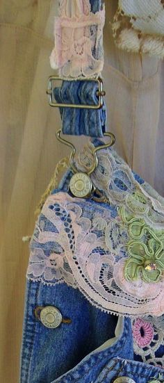 Denim and Lace Upcycled/Recycled Rags...from Tea's Hope Chest