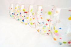 Retro Polka Dot Blown Glass Tumbler Set