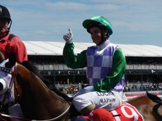 First female jockey to win the Melbourne cup, 2015 Michelle Payne ( I actually met and massaged her years ago) and was happy to be there in person to see her win!