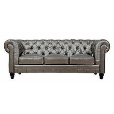 Sahara Silver Leather Sofa