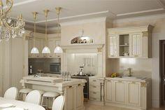Белая классическая кухня с золотыми акцентами