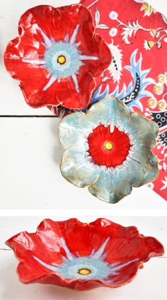 red and ice blue poppy bowls- for Mothers Day from Lee Wolfe Pottery